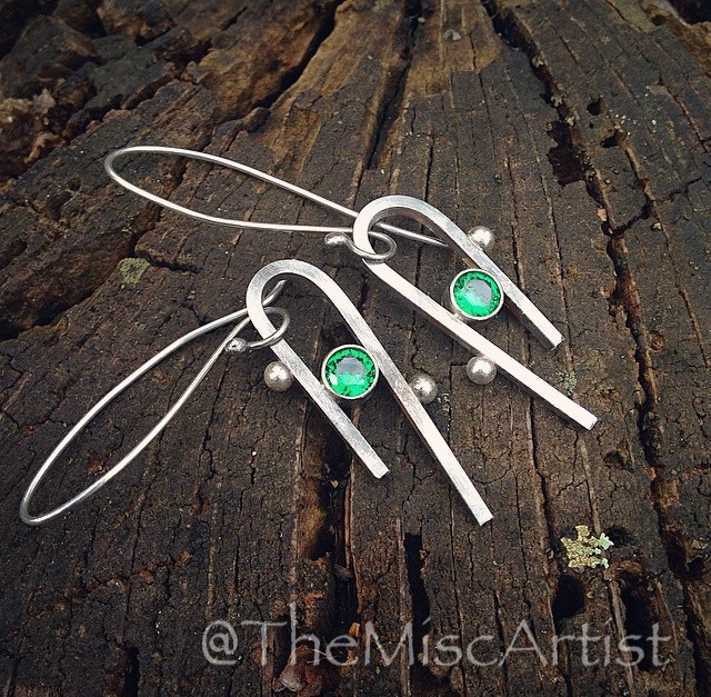 Sterling Abstract Earrings in Green